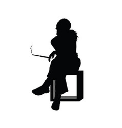 girl silhouette sitting and smoking in black color vector image vector image