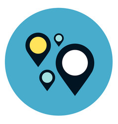 gps navigation pins icon on round blue background vector image vector image