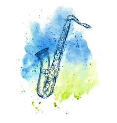 hand drawn classical alto saxophone vector image