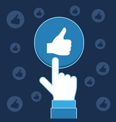 Hand pressing like button social media business vector
