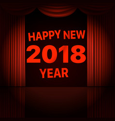 happy new 2018 year concept stage curtains with vector image