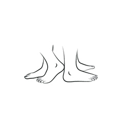 Legs standing back to back simple black icon on vector