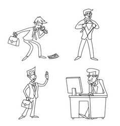 Lineart vintage businessman cartoon characters set vector