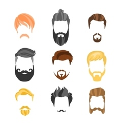 Male hairstyle constructor for face hipster vector