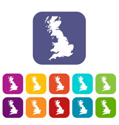 Map of great britain icons set vector