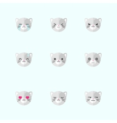 minimalistic flat cat emotions icon set vector image vector image