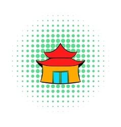 Pagoda icon in comics style vector