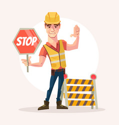 road worker man character holds stop sign vector image vector image