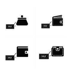 Sale pocket bag icons vector