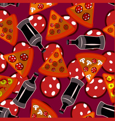 Seamless pattern with pizza bottles and pepperony vector
