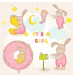 Set of Baby Bunny - for Baby Shower Card vector image vector image