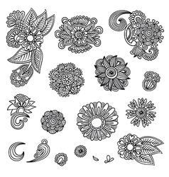 Set of hand draw black flower design vector image vector image