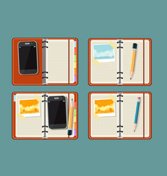 set with notepad smart phone photo and watch vector image