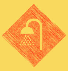 Shower sign red scribble icon obtained as vector