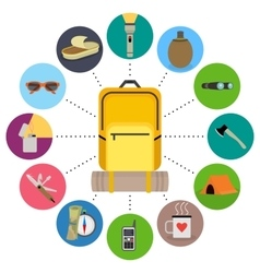 Traveler backpack contents Tourism objects in vector image