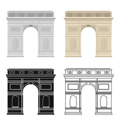 Triumphal arch icon in cartoon style isolated on vector