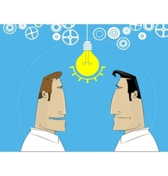 Two cartoon businessman share idea vector image vector image