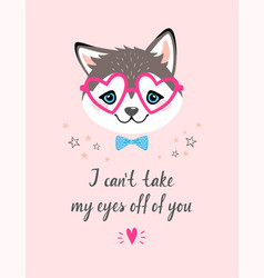 Valentines card with husky vector