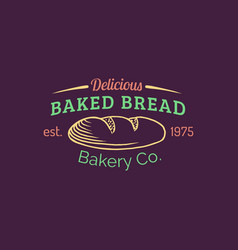 Vintage baked bread logo retro hipster vector