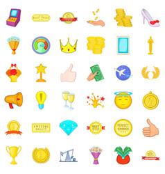 Winning icons set cartoon style vector