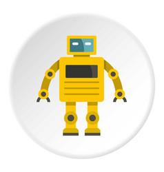Yellow humanoid robot icon circle vector