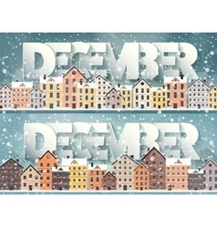 December monthwinter cityscapecity silhouettes vector