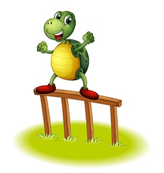 A turtle above a wooden post vector