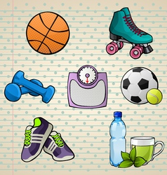 Colorful sport elements set vector