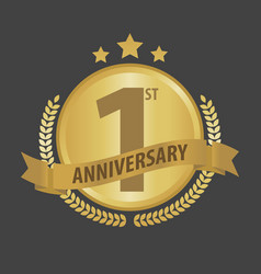 First 1 year anniversary golden badge and ribbon vector