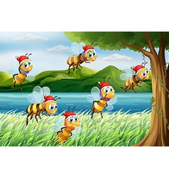 A group of bees going to the tree at the riverbank vector