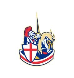 English knight riding horse england flag retro vector