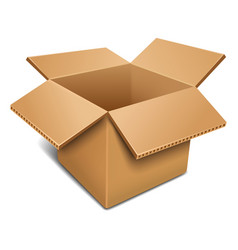 Empty open cardboard box vector
