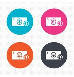 Cash money signs dollar euro and pound icons vector