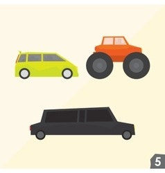 Family van monster truck and limousine vector