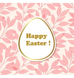Easter background with egg and pink leaves vector