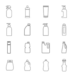 Household chemicals icons set vector