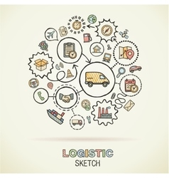 Logistic hand drawing hatch icons doodle vector