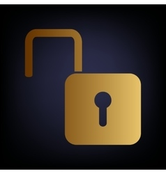 Unlock sign golden style icon vector