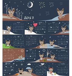 Calendar 2017 cute cats for every month vector