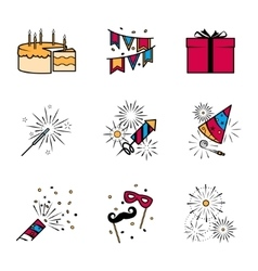 Party celebration fireworks icons set vector