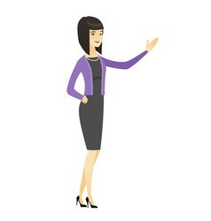 asian business woman showing a direction vector image vector image