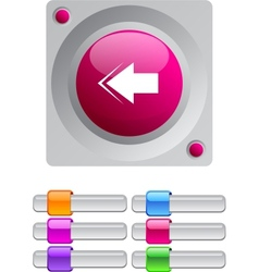 Back arrow color round button vector image vector image