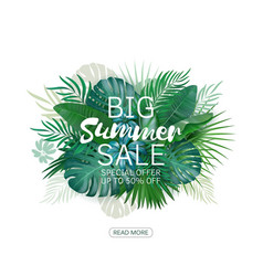 Big summer sale background with palm vector