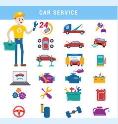 car service repair parts and serviceman boy vector image