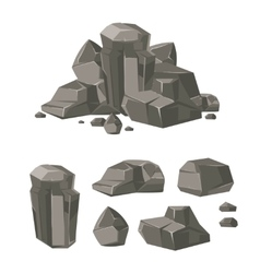 Cartoon rock boulder stone set vector