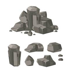 Cartoon rock boulder stone set vector