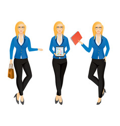 Cartoon sexy young business woman or secretary in vector