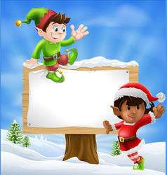 Christmas characters and sign vector