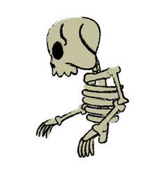 comic skeleton human walk character vector image