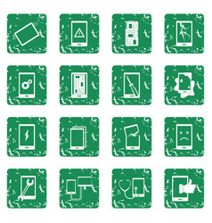 Device repair symbols icons set grunge vector